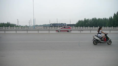 Train on a train track,Cars Vehicle traveling on overpass... Stock Video Footage