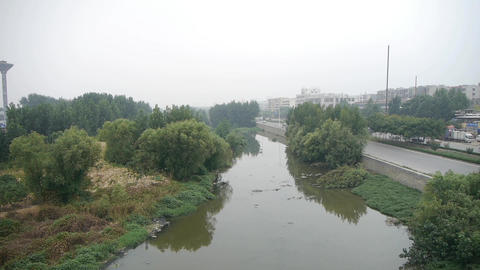 Pollution rivers,in the side of road Footage