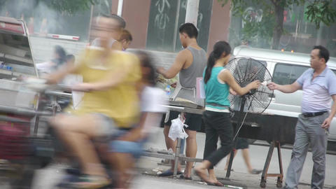 Street barbecue,busy vendors Stock Video Footage