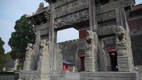 China stone arch & ancient city gate Stock Video Footage