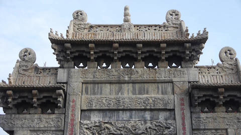 China stone arch & Carved stone dragon Stock Video Footage