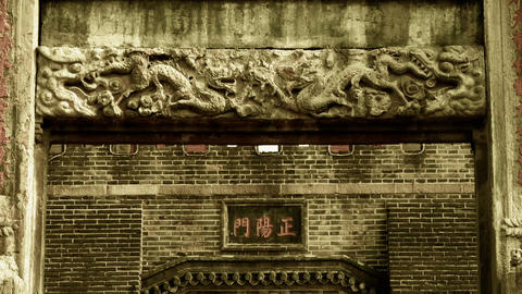 China stone arch & Carved stone dragon in front of... Stock Video Footage