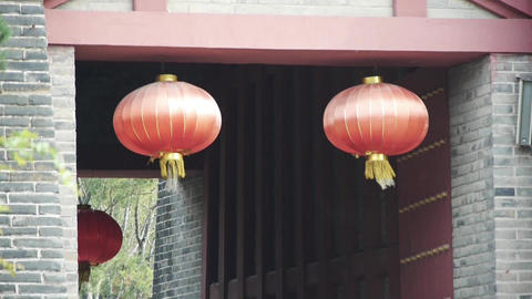 China lantern Chinese festivals & ancient city gate Stock Video Footage