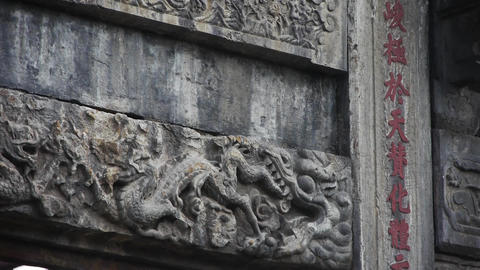 China stone arch & Carved stone dragon Footage