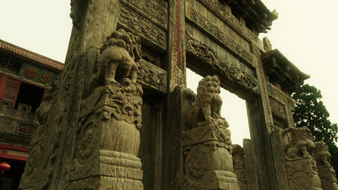China Stone Arch & Ancient Eaves.Majestic Looking Up Angle stock footage