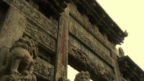 China stone arch & ancient eaves.Majestic looking up... Stock Video Footage