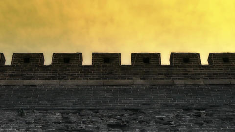 Ancient city Great Wall Battlements.Weathering of masonry Stock Video Footage