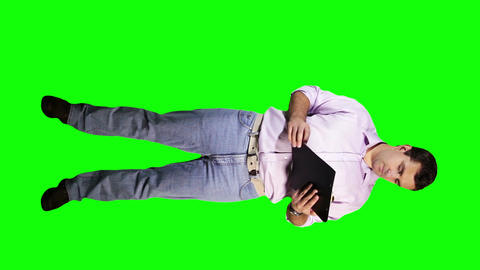 Young Man Checking Documents Full Body Greenscreen 18 Stock Video Footage
