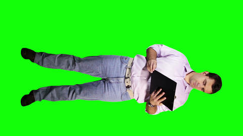 Young Man Documents Phone Full Body Greenscreen 21 Stock Video Footage