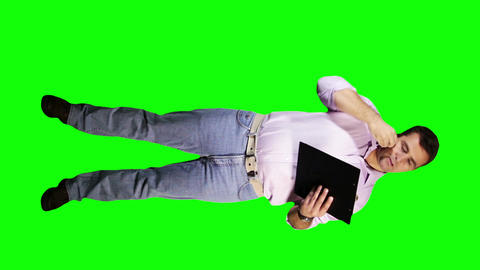 Young Man Documents Phone Full Body Greenscreen 21 Footage