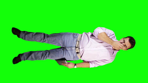 Young Man Tablet PC Bad News Full Body Greenscreen 14 Stock Video Footage