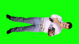 Young Man Tablet PC Good News Full Body Greenscreen 13 Stock Video Footage