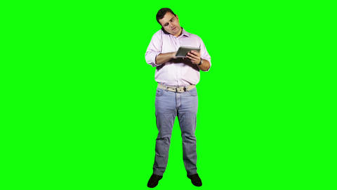 Young Man Tablet PC Phone Going Crazy Full Body... Stock Video Footage