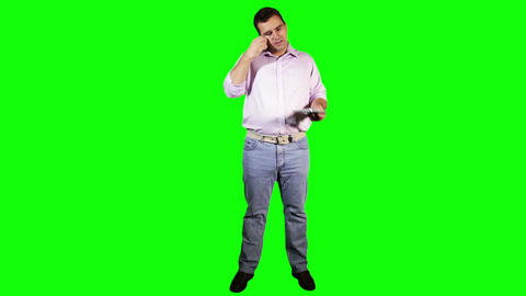 Young Man Tablet PC Phone Going Crazy Full Body Greenscreen 19 Footage