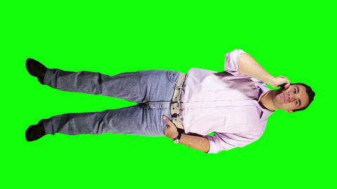 Young Man Talking Phone Good News Full Body Greenscreen 3 Stock Video Footage