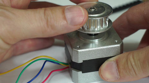 Turning Cogged Pulley Stepper Motor Macro Footage