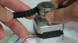 Testing Cogged Belt Pulley Stepper Motor Macro Footage