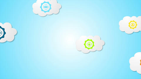 Abstract social communication video animation with clouds Animation