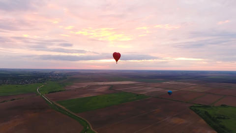 Hot Air Balloons In The Sky Over A Field.Aerial View stock footage