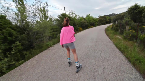 Girl Skating in a road Live Action