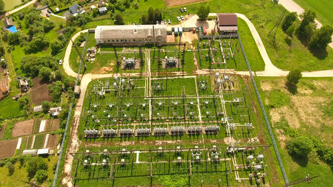 Electrical substation,power station.aerial view Footage