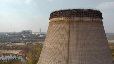 Chernobyl nuclear power plant, Ukrine. Aerial view Footage
