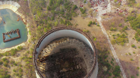 Drone flies over the cooling tower, aerial view Footage