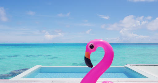 Funny vacation travel concept with inflatable pink pelican float toy in pool Footage