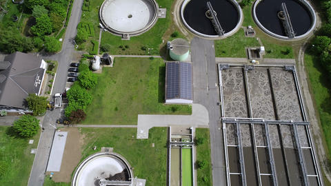 Sewage treatment plant - aerial view Footage