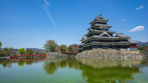 Timelapse of Matsumoto Castle landmark in Nagano, Japan time lapse Live Action
