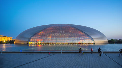 Day to night timelapse of National Centre for the Performing Arts in Beijing, China Live Action