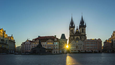 Old Town Square of Prague in Czech Republic with sunrise city skyline time lapse Footage