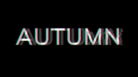 From the Glitch effect arises season name AUTUMN. Then the TV turns off. Alpha channel Premultiplied Animation