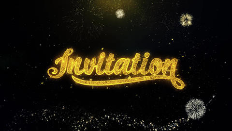 Invitation Written Gold Particles Exploding Fireworks Display Live Action