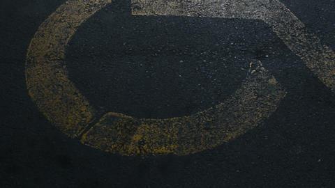 Disabled Parking Signs In Asphalt Car Park Footage