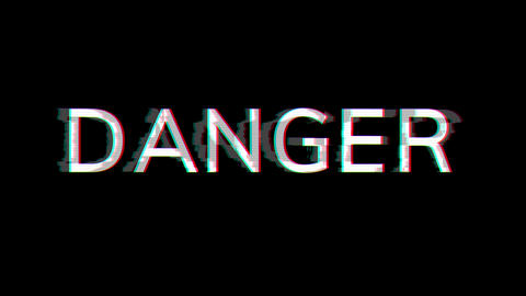 From the Glitch effect arises text DANGER. Then the TV turns off. Alpha channel Premultiplied - Animation
