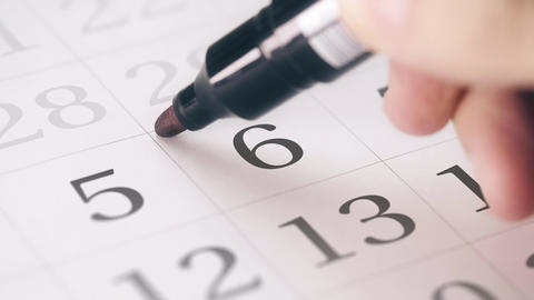 Marked the sixth 6 day of a month in the calendar transforms into DEADLINE text Live Action
