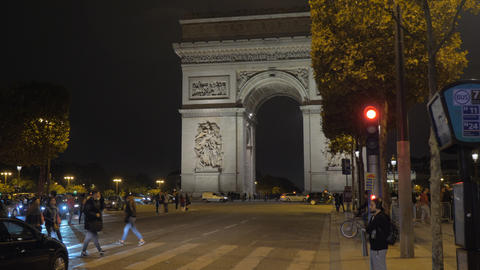 Paris night cityscape with red traffic and Arc de Triomphe, France Archivo