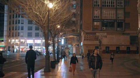 Night cityscape of Valencia with Xativa street and Plaza de Toros, Spain Footage