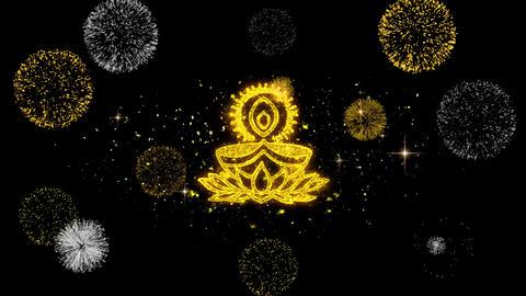 Deepak Diya Lamp Golden Text Blinking Particles with Golden Fireworks Display Footage