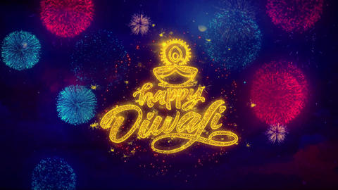 Happy Diwali Diya Greeting Text Sparkle Particles on Colored Fireworks Footage