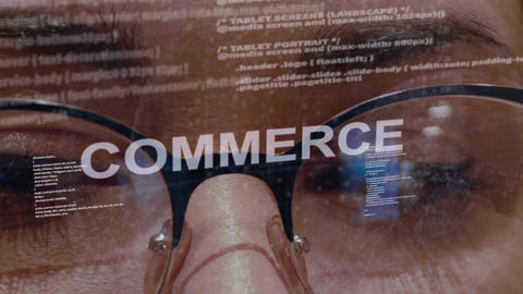 Commerce text on background of female developer Footage