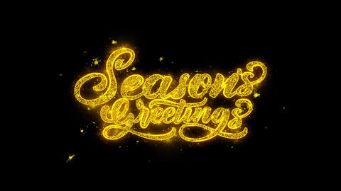 Seasons Greetings Typography Written with Golden Particles Sparks Fireworks Live Action