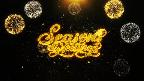 Seasons Greetings Wishes Greetings card, Invitation, Celebration Firework Looped Live Action