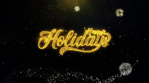 Happy Holidays Written Gold Particles Exploding Fireworks Display Footage