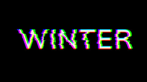 From the Glitch effect arises season name WINTER. Then the TV turns off. Alpha channel Premultiplied Animation