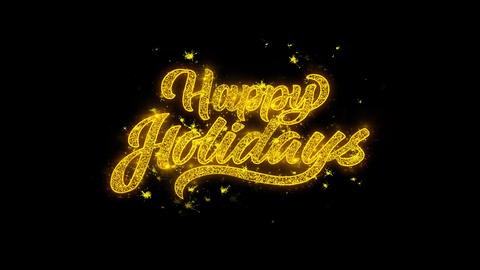 Happy Holidays Typography Written with Golden Particles Sparks Fireworks Live Action