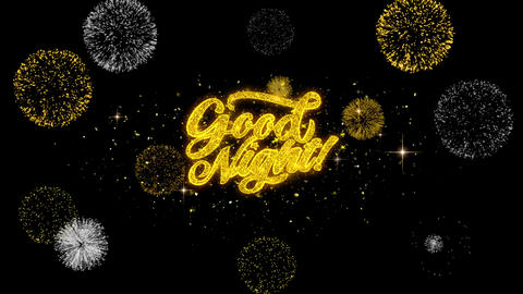 Good Night Golden Text Blinking Particles with Golden Fireworks Display Footage