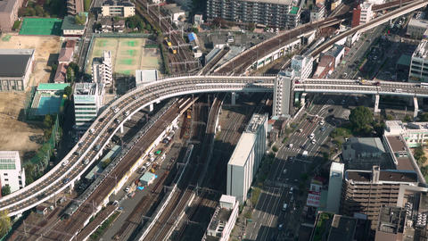 aerial view of traffic in Osaka, Japan Live Action