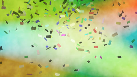 Colorful confetti falling against stage lights Animation